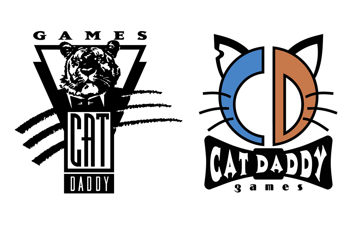 Old CatDaddy Games logo on the left and Current Logo on the right